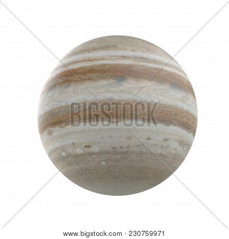 Jupiter Planet On White Background. 3d Illustration