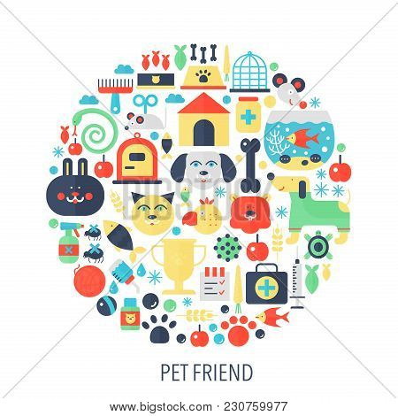 Pet Friend Flat Infographics Icons In Circle - Color Concept Illustration For Pet Store Cover, Emble