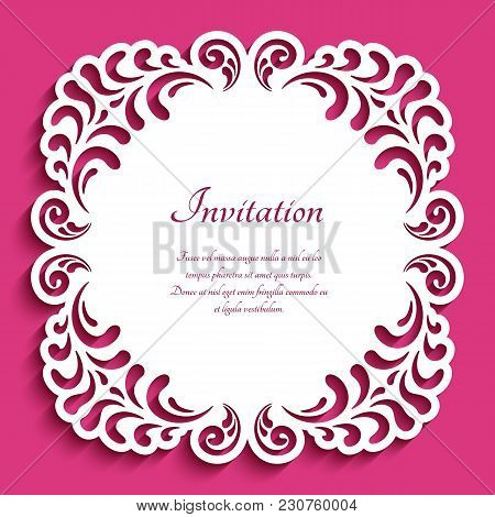 Square Frame With Lace Border Pattern, Cutout Paper Ornament, Template For Laser Cutting, Vector Dec