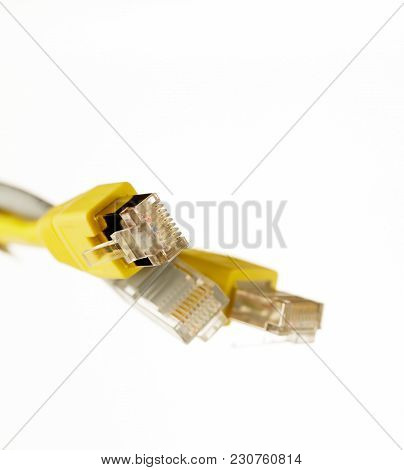 Network Cat6e Cable With Rj45 Connector On White Background
