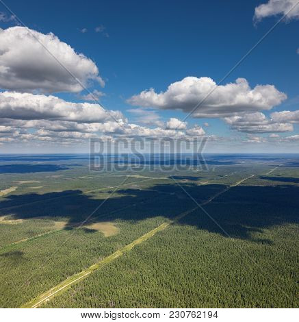 View From Above Of Endless Forest Plains With Power Lines In Sunny Summer Day.