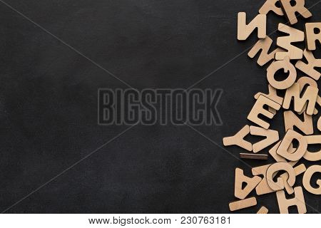 Wooden English Letters Background, Copy Space. Alphabet Study, Abc, Education Concept, Top View