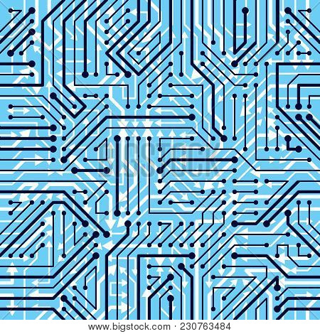 Motherboard Board Seamless Pattern, Vector Background. Circuit Board Technology Electronics Repeat D