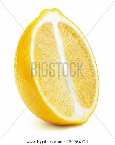 Perfectly Retouched Sliced Half Of Lemon Fruit Isolated On The White Background With Clipping Path.