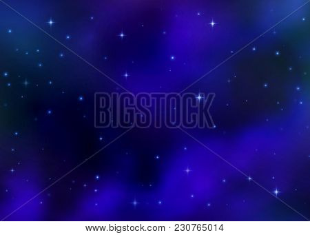 Abstract Cosmic Blue Galaxy Background. Colorful Nebula, Milky Way Cosmos Energy And Shining Stars.