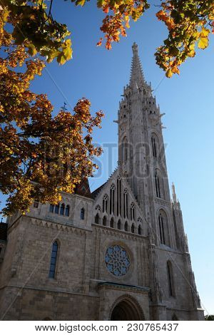 BUDAPEST, HUNGARY - OCTOBER 15: Church of St. Matthias near the fisherman bastion in in Budapest, Hungary, on October 15, 2017.