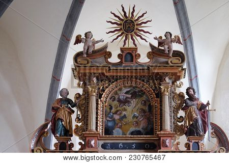 VUKOVOJ, CROATIA - OCTOBER 08: Main altar in the chapel of St. Wolfgang in Vukovoj, Croatia on October 08, 2016.
