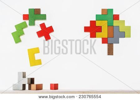 The Concept Of Rational And Irrational Thinking. Colourful Shapes Of Abstract Brain For Concept Of I