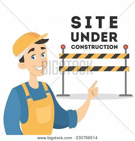 Site Under Construction. Worker In Uniform On White.