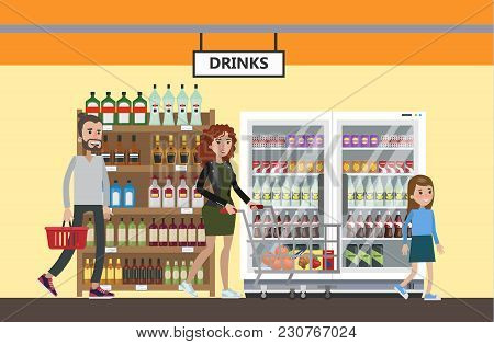 Supermarket Interior Set. People Buying Drinks And Water.