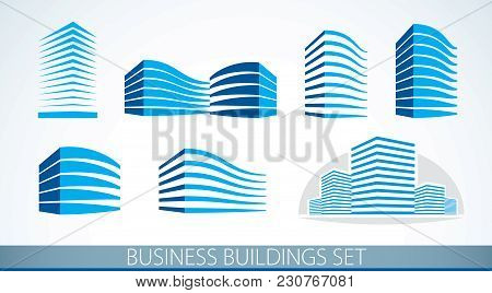 Futuristic Buildings Set, Modern Style Vector Architecture Illustrations Collection. Real Estate Rea