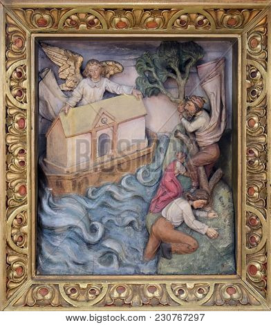 ZAGREB, CROATIA - OCTOBER 02: Noah's Ark, relief in the church of Saint Martin in Zagreb, Croatia, on October 02, 2017.