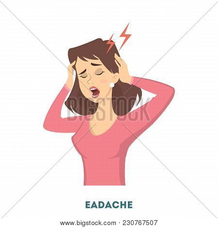 Woman Diabetes Symptoms. Having Pain In Head.