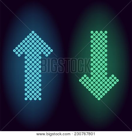 Blue And Green Neon Arrow With Rings. Vector Illustration Of Long Neon Arrow Consisting Of Many Ring