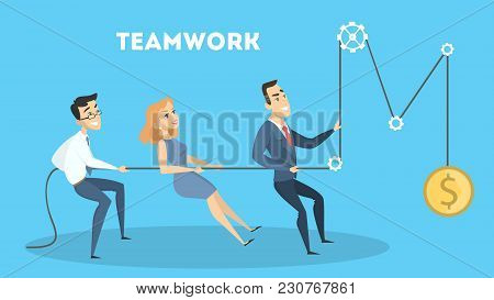 Business Teamwork Together Pulling Rope For Getting Profit.