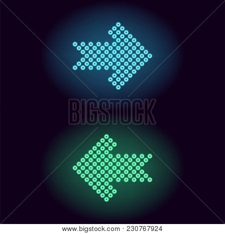 Blue And Green Neon Arrow With Rings. Vector Illustration Of Short Neon Arrow Consisting Of Many Rin