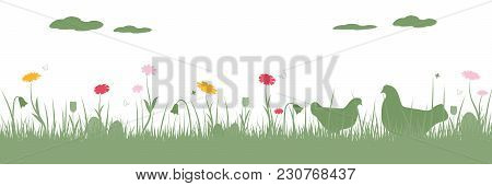Happy Easter. Field With Chicken, Easter Eggs, Butterfly And Flowers.