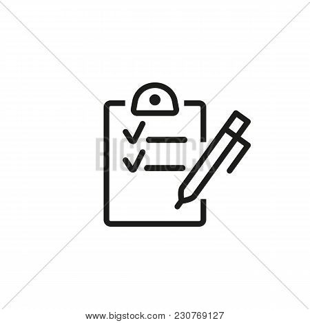 Line Icon Of Checklist With Pen. To Do List, Questionnaire, Contract. Recruitment Concept. Can Be Us