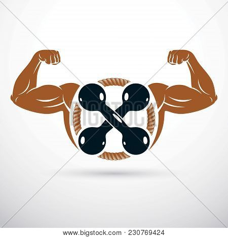 Vector Illustration Of Bodybuilder Muscular Arm Holding Dumbbell. Power Lifting.