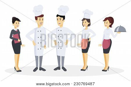 Chef Team Set With Employee At Restaurant On White.