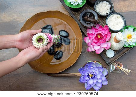 Thai Spa Treatment And Product For Female Feet And Manicure Nails Spa Wet With Lotus Flowers, Thaila