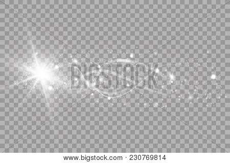 A Bright Comet With Large Dust. Falling Star. Glow Light Effect. Vector Illustration. Eps10.