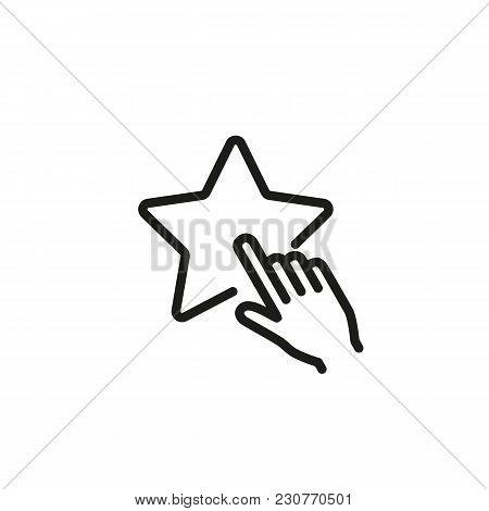 Line Icon Of Human Hand Pressing Star. Favorites, Popular Blog, Popular Website. Internet Concept. C