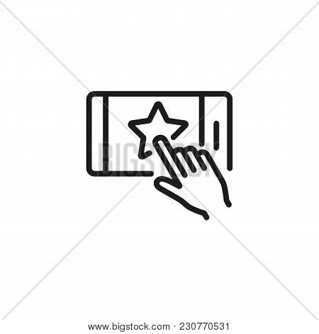 Line Icon Of Hand Touching Star Button On Mobile Phone. Favorites, Website, Premium Account. Interne