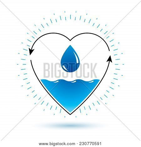 Pure Water Vector Abstract Logotype For Use In Mineral Water Advertising. Environment Conservation C