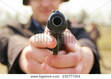 Gun pistol front. Shooting training.