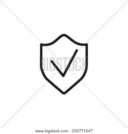 Line Icon Of Shield With Checkmark. Guarantee, Security, Insurance. Protection Concept. Can Be Used