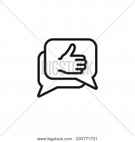 Line Icon Of Speech Bubbles With Thumb Up Gesture. Opinion, Comment, Network Chat. Social Concept. C