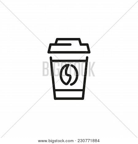 Line Icon Of Take Away Coffee Cup. Coffee Shop, Beverage, Morning. Coffee Concept. Can Be Used For T