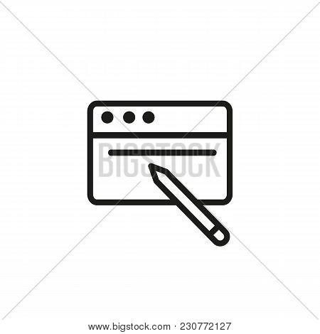 Line Icon Of Browser Window And Pencil. Web Page Settings, Website Creation, Website Restoring. Inte