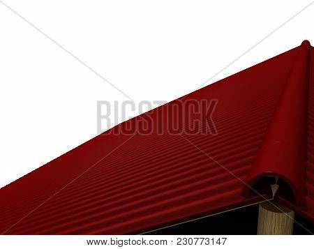 Tiled Roof On A White Background 3d Rendering