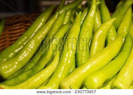Green Pepper In Basket. Fresh Pepper. Organic Food