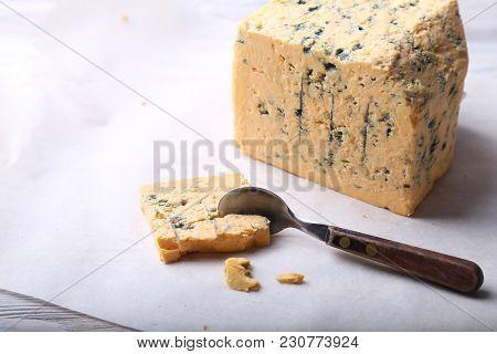 Mature Blue Stilton Cheese. Cheese. Tasty Appetizer