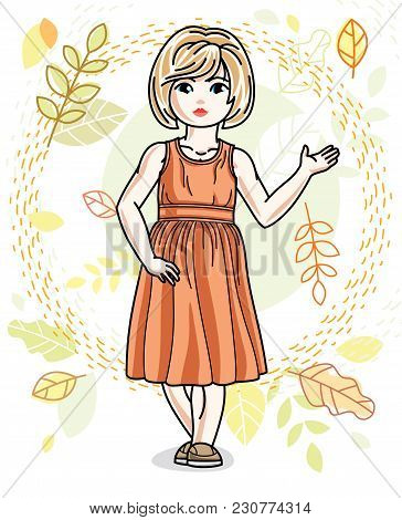 Little Fair-haired Girl Toddler Standing On Background Of Autumn Landscape And Wearing Fashionable C