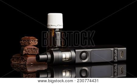 Chocolate, Electronic Cigarette Liquid For Smoking Isolated On Black Background