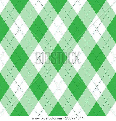 Green Argyle Seamless Pattern Bavkground. Irish Or St. Patrick Theme. Diamond Shapes With Dashed Lin