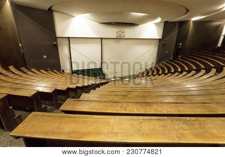 Munich, Germany - November 17, 2017: Empty Auditorium Of Technical University For Lecture And Gradua