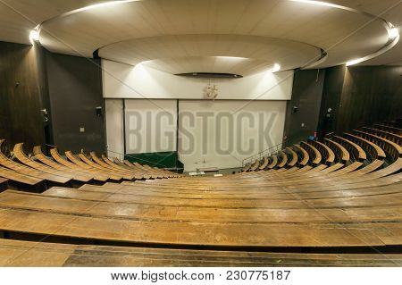 Munich, Germany - November 17, 2017: Wooden Benches Inside The Auditorium Of Technical University Fo