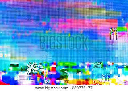 Digital Tv Glitch On Television Screen With Misplaced Squares, Static Effects And Freezing Problems