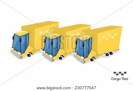 Trucking Industry Taxi. Animation Isometric Style. Isolated On White Background.
