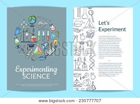 Vector Card Or Flyer Template With Sketched Science Or Chemistry Elements On Plain Background And Pl