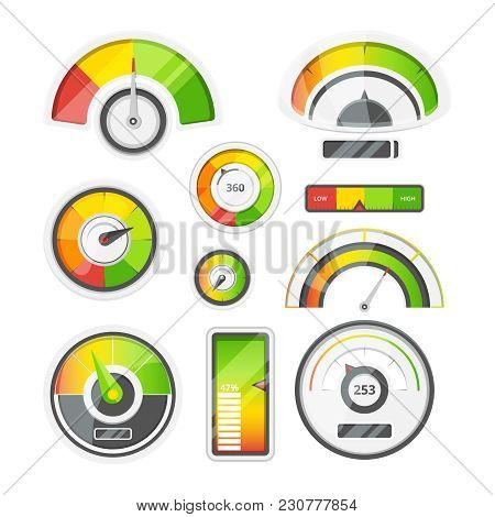 Icon Set Of Level Meters, Tachometer And Battery Level. Vector Pictures Set. Illustration Of Measure