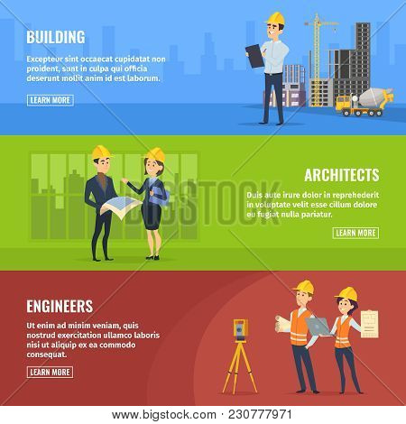 Illustrations For Banners Of Builders Architects And Engineers. Vector Architect And Engineer Constr
