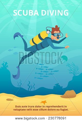 Underwater Background Picture With Cartoon Diver. Vector Underwater Sea, Cartoon Marine Fish And Div