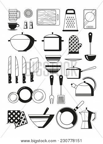Monochrome Illustrations Of Kitchen Tools. Vector Silhoette Of Restaurant Utensil. Kitchen Tool And