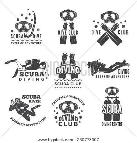 Labels Or Logos For Diving Club. Vector Pictures Set Of Divers And Different Specific Equipment. Ill